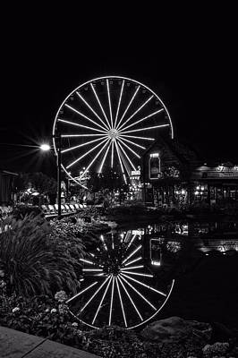 Water Moonshine And A Big Wheel In Black And White Poster