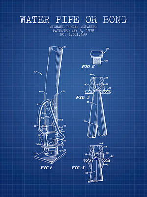 Water Pipe Or Bong Patent 1975 - Blueprint Poster
