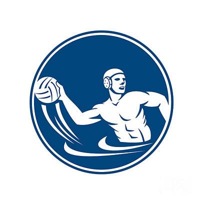 Water Polo Player Throw Ball Circle Icon Poster