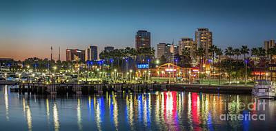 Water Reflecting Lights Sunset Long Beach Ca Poster