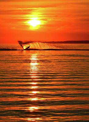 Water Skiing At Sunrise  Poster