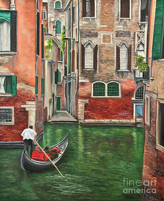Water Taxi On Venice Side Canal Poster by Charlotte Blanchard