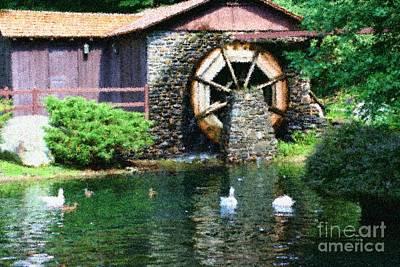 Water Wheel Duck Pond Poster