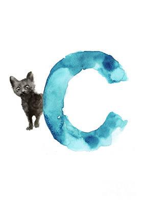 Watercolor Alphabet C Cat Art Print For Sale Poster