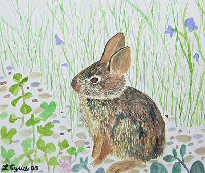 Watercolor - Baby Bunny Poster