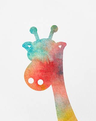 Watercolor Baby Giraffe Poster by Nursery Art