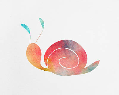 Watercolor Baby Snail Poster by Nursery Art