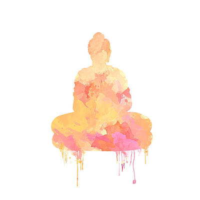 Watercolor Buddha Art Poster by Anita Mihalyi