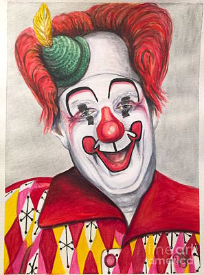 Watercolor Clown #25 Chuck Burnes Poster by Patty Vicknair