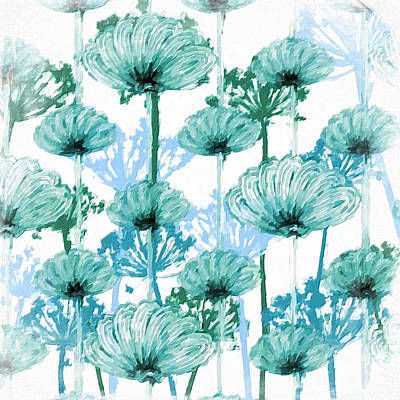 Poster featuring the digital art Watercolor Dandelions by Bonnie Bruno