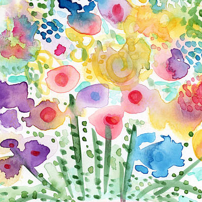 Watercolor Flower Garden- Art By Linda Woods Poster