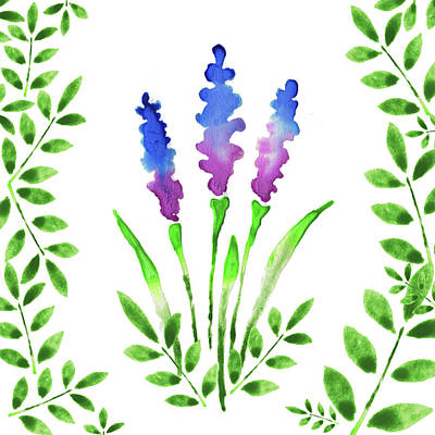 Blue Watercolor Flowers And Leaves I Poster