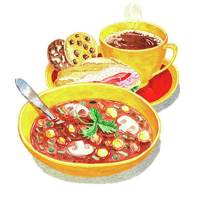 Watercolor Food Illustration Full Lunch Poster