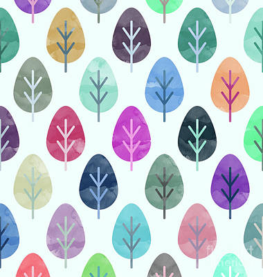 Watercolor Forest Pattern  Poster
