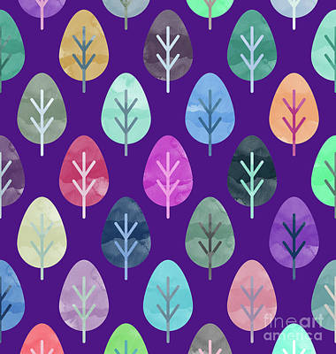 Watercolor Forest Pattern II Poster