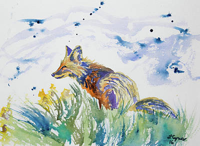 Watercolor - Fox On The Lookout Poster