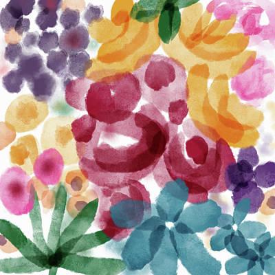 Watercolor Garden Flowers- Art By Linda Woods Poster