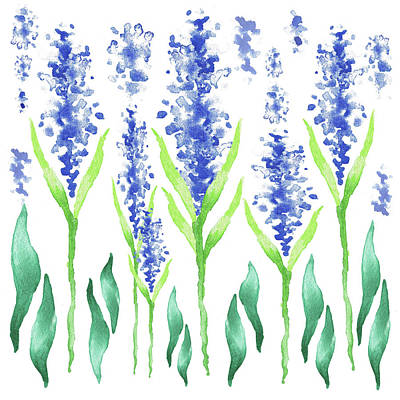 Watercolor Garden For Baby Room Magic Blue Flowers Poster