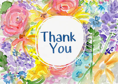 Watercolor Garden Thank You- Art By Linda Woods Poster