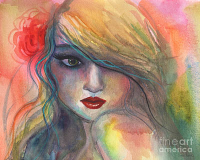 Watercolor Girl Portrait With Flower Poster