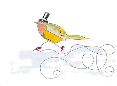 Watercolor Illustration Of A Robin Bird Dressed Up In Old Fashio Poster by Ewa Hearfield
