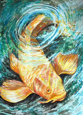 Watercolor Koi Study Poster