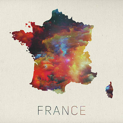 Watercolor Map Of France Poster