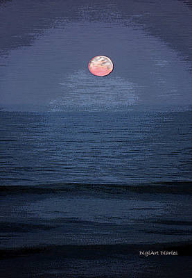 Watercolor Moon Poster by DigiArt Diaries by Vicky B Fuller