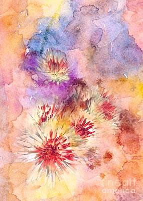 Watercolor Mums Poster