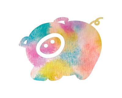 Watercolor Nursery Print - Cute Pig Poster by Nursery Art