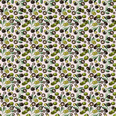 Watercolor Olives Seamless Pattern Poster