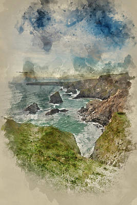 Watercolor Painting Of Beautiful Landcape Image Of Bedruthan Steps On Cornwall Coast In England Poster