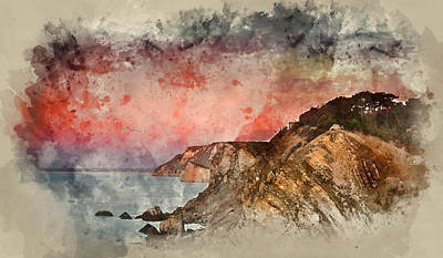 Watercolor Painting Of Beautiful Vibrant Sunrise Over Rocky Coas Poster