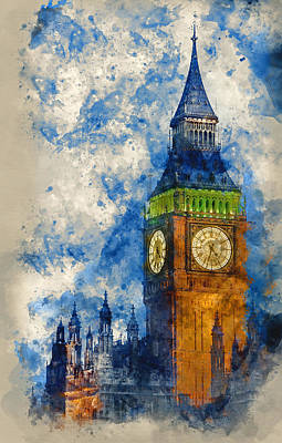 Watercolor Painting Of Big Ben At Twilight Witth Lights Making A Poster by Matthew Gibson