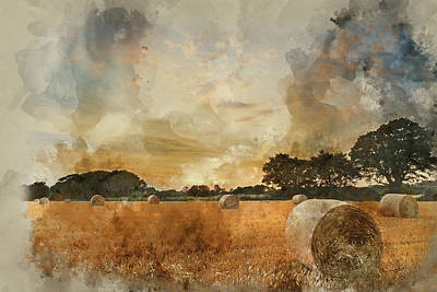 Watercolor Painting Of Rural Landscape Image Of Summer Sunset Ov Poster