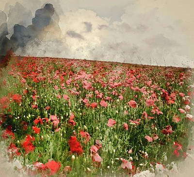 Watercolor Painting Of Vivid Color Red Poopy Field Landscape Under Stormy Sky Poster
