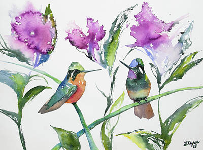 Watercolor - Purple-throated Mountain Gems And Flowers Poster