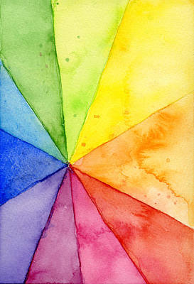 Watercolor Rainbow Beachball Pattern Poster by Olga Shvartsur