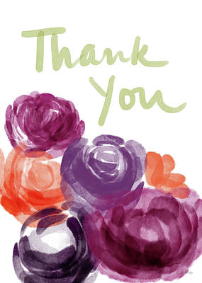 Watercolor Roses Thank You- Art By Linda Woods Poster