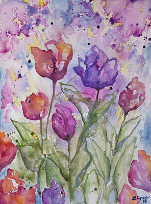 Watercolor - Spring Flowers Poster