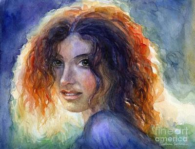 Watercolor Sunlit Woman Portrait 2 Poster