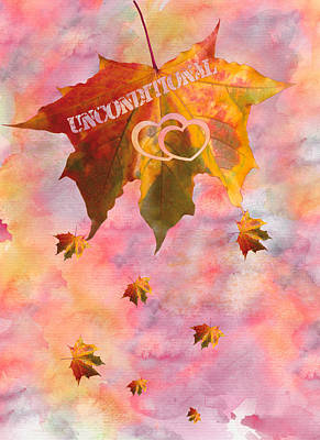 Watercolor Unconditional Love Typography On Leaf Poster