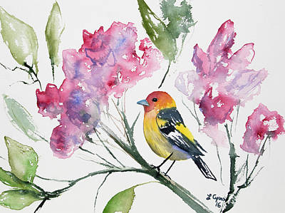 Watercolor - Western Tanager In A Flowering Tree Poster