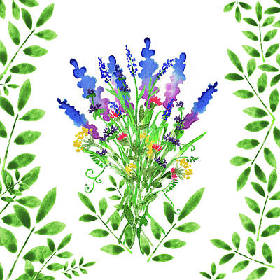 Watercolor Wildflowers And Leaves I Poster