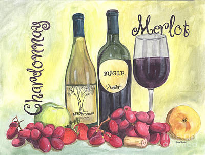 Watercolor Wine Poster by Debbie DeWitt