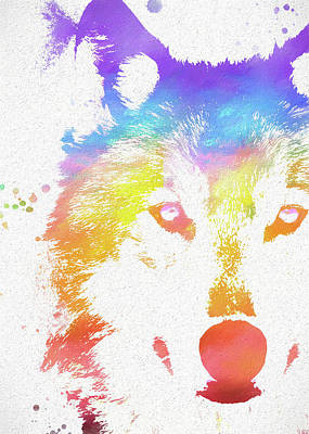 Watercolor Wolf Poster