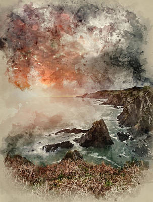 Watercolour Painting Of Dramatic Stormy Sunrise Landscape Over B Poster