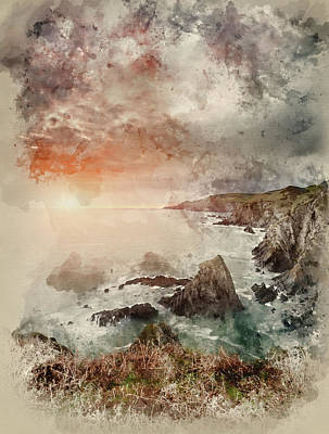 Watercolour Painting Of Dramatic Sunrise Landscape Over Bull Point In Devon England Poster by Matthew Gibson