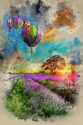 Watercolour Painting Of Hot Air Balloons Flying Over Lavender La Poster by Matthew Gibson