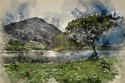 Watercolour Painting Of Landscape Image Of Mountain Reflected In Poster by Matthew Gibson